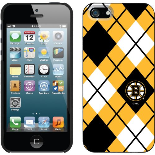Best Price Boston Bruins« - Argyle design on a Black iPhone 5s / 5 Thinshield Snap-On Case by Coveroo