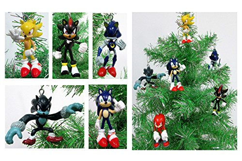 Sonic 6 Piece Christmas Ornament Set Featuring Sonic, Shadow, Werehog, Metal Sonic, Knuckles, and Super Sonic (Shadow Hedgehog Game compare prices)