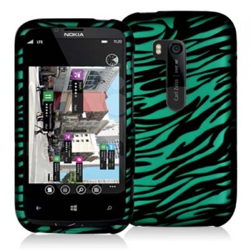 Cell Accessories For Less (Tm) Black / Baby Blue Zebra Design Crystal Hard Case Cover For Nokia Lumia 822 - By Thetargetbuys front-785669