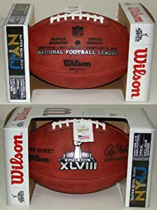 Wilson Super Bowl 48 (XLVIII) Official NFL Leather Game Football - with Team Names... by Wilson
