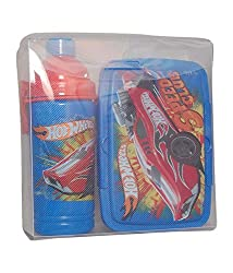Only Kidz Blue & Red HW Lunch Box & Water Bottle - Combo