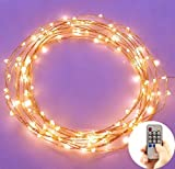 LED Christmas Starry String Lights with 120 Warm White Led's on Copper Wire 20 Feet Long - Bright Amber Warm LED Lights Perfect for Accenting Your Patio - Bedrooms - Livingrooms - Outdoor or an Intimate Environment Anywhere in the Home. 2-year 100% Satisfaction Guarantee.You Can Use the Remote Control - Regulate the String Light - Brightness and Fashing By Minetom®