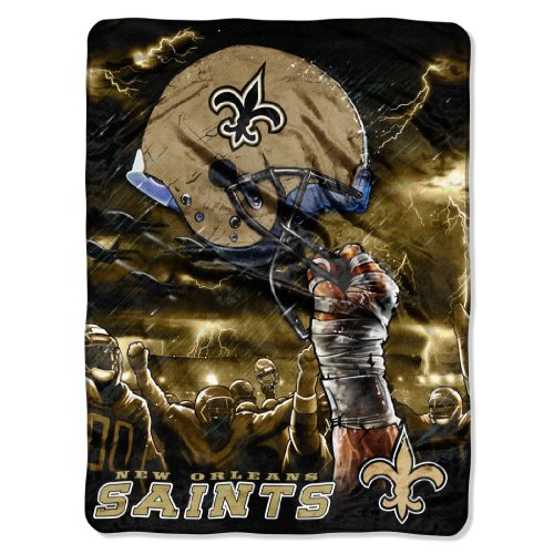 Nfl New Orleans Saints 60-Inch-By-80-Inch Plush Rachel Blanket, Sky Helmet Design front-503880