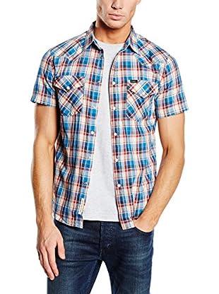 Lee Camisa Hombre Western Ss (Crudo / Azul)