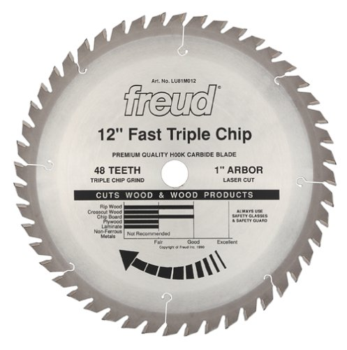 Freud LU81M012 12-Inch 48 Tooth TCG Stacked Chipboard Cutting Saw Blade with 1-Inch Arbor