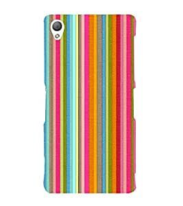 MULTICOLOURED VERTICAL LINES PATTERN 3D Hard Polycarbonate Designer Back Case Cover for Sony Xperia Z3 :: Sony Xperia Z3 D6653 D6603