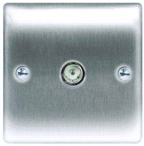 Masterplug NBS60 1-Gang Metal Brushed Steel Co-axial Socket