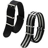2pc Ritche 22mm Nylon Striped Black,black/grey Interchangeable Replacement Watch Strap Band