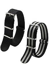 2pc Ritche 22mm Nylon Striped Black,black/gray Interchangeable Replacement Watch Strap Band