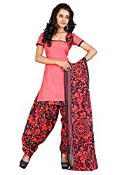 BanoRani Tomato Red PolyCotton Printed UnStitched Dress Material