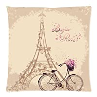 Custom Cotton Eiffel Tower 18 Inch Pillow Cushion Cases by SO COOL FLYING