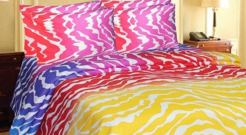Zebra Stripe Rainbow Color Sheet & Pillow Case Set Microfiber (White Stripe, King) front-651994