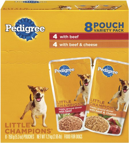 Pedigree Meaty Ground Dinner with Beef Combo Pack Food for Dogs, 5.3-Ounce Pouches (Pack of 32)