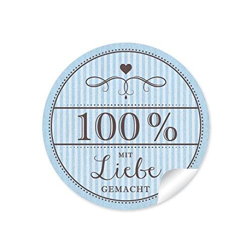 24 sticker 100 mit liebe gemacht 24 edle etiketten im retro vintage style in hellblau mit. Black Bedroom Furniture Sets. Home Design Ideas