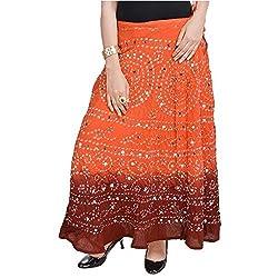 SHREEMANGALAMMART Bandhej Exclusive Ornage Cotton Skirt (Orang-Mehrun)(SMSKT533)