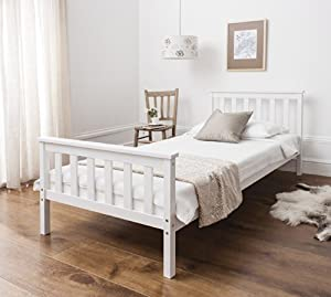 Single Bed in White 3ft Single Bed Wooden Frame WHITE Dorset