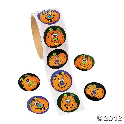100 Jack-O-Lantern Roll Stickers, 1 Roll