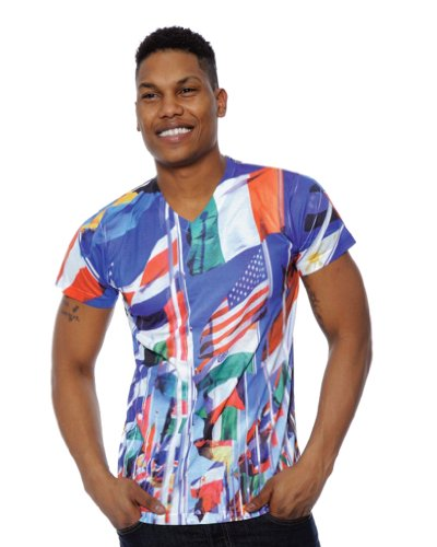 Simplicity Mens International Flags All-Over Digital Print Tshirt, L