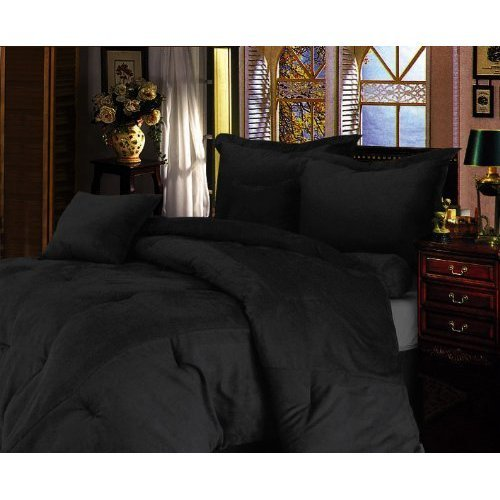 low price 7 pieces solid black micro suede duvet cover