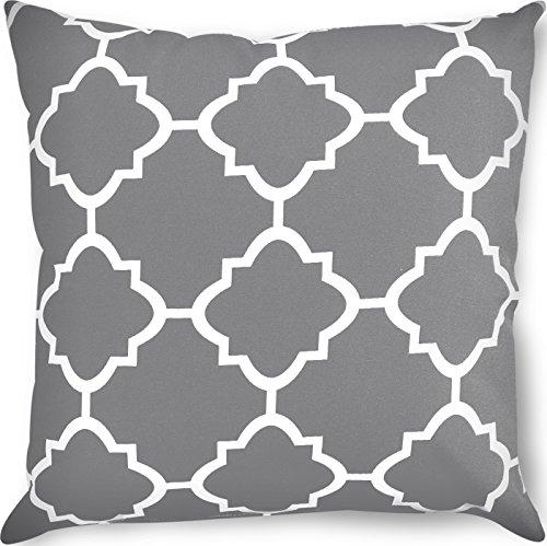 Utopia Bedding Decorative Square 18 x 18 inch Throw Pillow - Grey Moroccan Quatrefoil Lattice Cushion Pillow