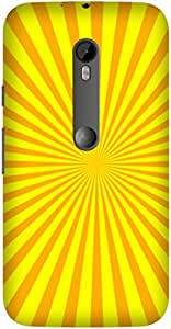 Yellow Lines Printed Back Cover Case For Motorola Moto G (3rd gen)