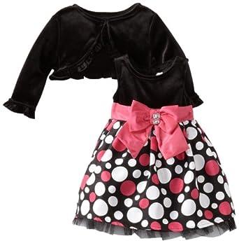 Youngland Baby-Girls Newborn Shantung Dot Skirt, Fuschia/Black/White, 3-6 Months