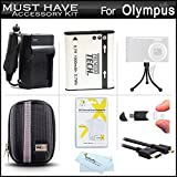 Must Have Accessory Kit For Olympus SZ-12, SZ-31MR iHS, SZ-16 iHS, TG-850 iHS, TG-860 Digital Camera Includes Extended Replacement (1000 maH) LI-50B Battery + Ac/Dc Travel Charger + Micro HDMI Cable + USB Reader + Hard Case + Mini Tabletop Tripod + More
