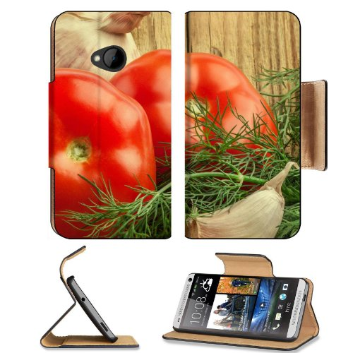 Fresh Vegetables Tomatos Garlic Condiments Htc One M7 Flip Cover Case With Card Holder Customized Made To Order Support Ready Premium Deluxe Pu Leather 5 11/16 Inch (145Mm) X 2 15/16 Inch (75Mm) X 9/16 Inch (14Mm) Msd Htc One Professional Cases Accessorie front-940714