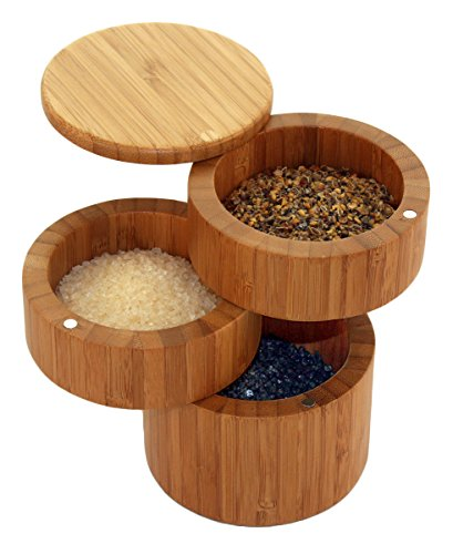 Totally Bamboo Triple Salt Box, Bamboo Container with 3 Compartments and Magnets For Secure Storage (Salt Bamboo Container compare prices)