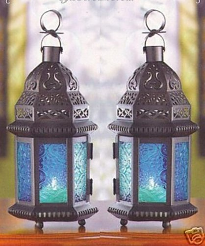 10 BLUE GLASS WEDDING CANDLE LANTERN CENTERPIECES