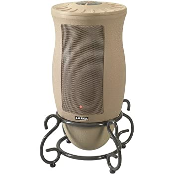Lasko's 6435 Designer Series Oscillating Ceramic Heater with milti-function Remote Control blends beautifully with surrounding décor. With its Decorative Metal Scrollwork Base this unit will fit perfect in almost any room. It offers full room heat co...
