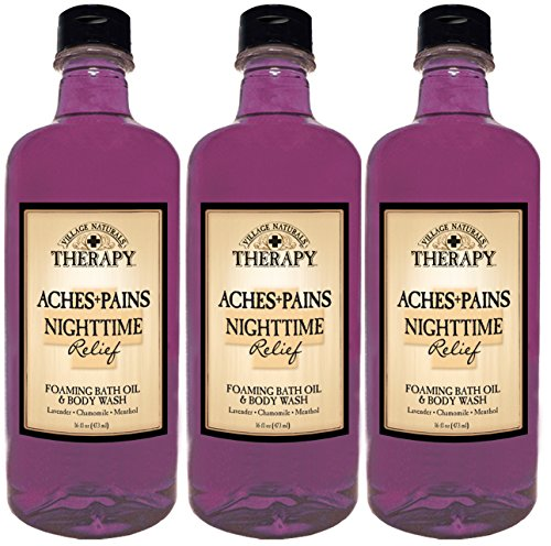Village Naturals Therapy Aches and Pains Nighttime Relief Foaming Bath Oil and Body Wash (3)