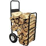 Heavy duty steel wood caddy with large rubber wheels
