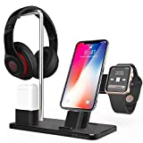Apple Watch Stand, ZVE Aluminum 4 in 1 Apple Charging Station Headphone Holder AirPods Charging Stand for Apple Watch Series 3 2 1, iPhone X 8 Plus 8 7 Plus 7 6S Plus 6, AirPods, iPad, iPod- Black