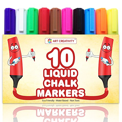 **SPECIAL** Pack of 10 LIQUID CHALK MARKERS, Vivid Colors - Premium Quality Markers - Unique Reversible Tip - Easy Dry Erase - Non-Toxic, Safe for Kids, PLUS 2 BONUS REPLACEMENT TIPS (Liquid Expresso Fine Point compare prices)
