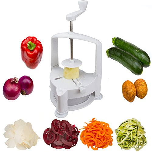 Brieftons Vertico Spiralizer: Vegetable Spiral Slicer, Fresh Veggie Spaghetti & Pasta Maker for Low Carb Healthy Vegetable Meals