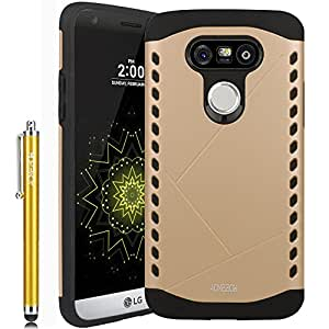 LG G5 Case, ACME.BOX [Shock Absorbent] Sheild Dual Layer Armor Hybrid Hard PC Defender Rugged Shockproof Protective Case for LG G5 with Stylus - Gold