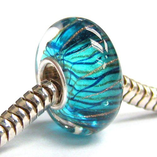 Sterling Silver Murano Stripe Wave Blue Gold