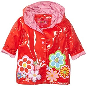 Wippette Baby-Girls Infant Floral Shiny Rainwear,Tomato, 18 Months Color: Tomato Size: 18 Months (Baby/Babe/Infant - Little ones) from Wippette