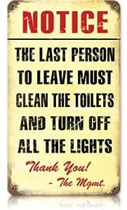 Clean Bathroom Humor Vintage Metal Sign