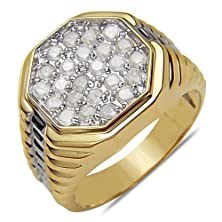 buy Men'S 1Ct Diamond Two Tone Fashion Ring In 10K Gold,10.5