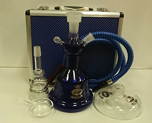 Alfakher-Glass-Hookah-with-Metal-Case-Blue