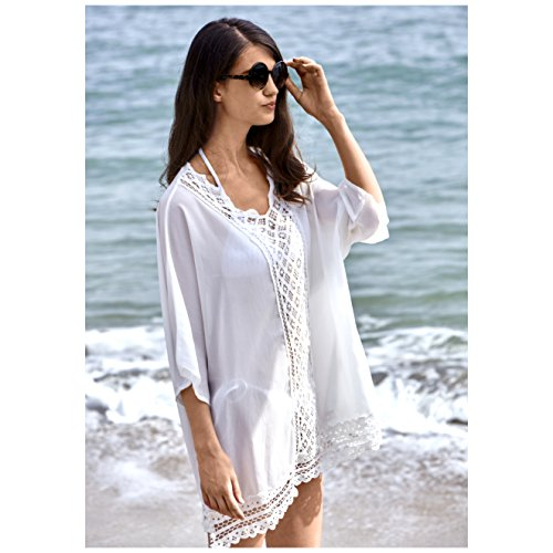 d145e82d04 MG Collection® White Cotton Lace Design Swimsuit Cover Up   Fashion Beach  Dress