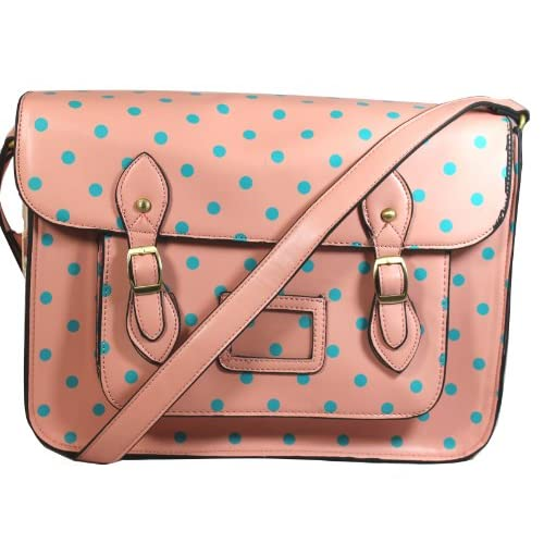 Sara Vintage Style Polka Dot School Satchel Bag -- SwankySwans