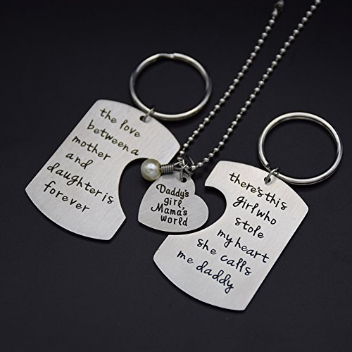 O.RIYA Christmas Gifts Fathers Mothers Birthday Jewelry Necklace Gift, Mommy Daddy daughter stole heart set little girl kids love Mothers day fathers pendant necklace set of 3, Gift for Daughter,