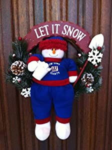 New York Giants Holiday Snowman Wreath Let It Snow by Evergreen