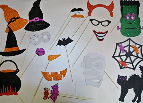 Halloween Photo Booth Party Props Witches Hats Spider Web Frankeistein Mummy