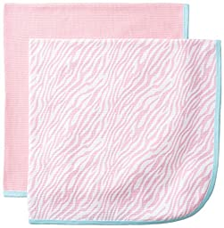 Gerber Baby Girls\' 2 Pack Thermal Blankets, Pink Zebra, One Size