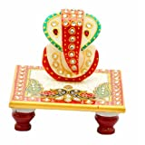 Jaipur Raga Beautiful Designer Gold Embossed Chowki Ganesha: White