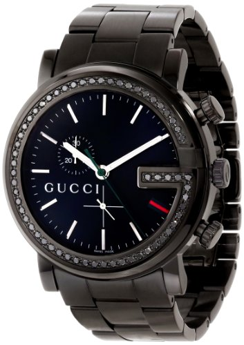 Gucci Unisex YA101347 G-Chrono Black PVD 60 Black Diamonds Case Watch